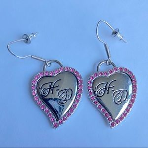 Harley Davidson silver/pink heart earrings